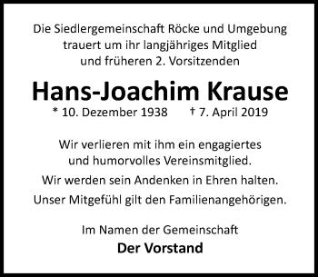 Traueranzeige für Hans-Joachim Krause vom 12.04.2019 aus Schaumburger Nachrichten