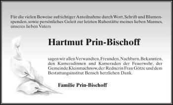 Traueranzeige für Hartmut Prin-Bischoff vom 13.04.2019 aus Märkischen Allgemeine Zeitung