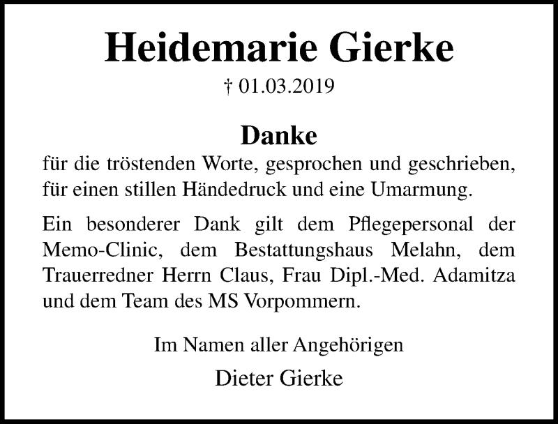 Traueranzeige für Heidemarie Gierke vom 06.04.2019 aus Ostsee-Zeitung GmbH