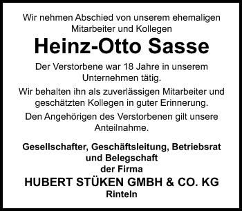 Traueranzeige für Heinz-Otto Sasse vom 13.04.2019 aus Schaumburger Nachrichten