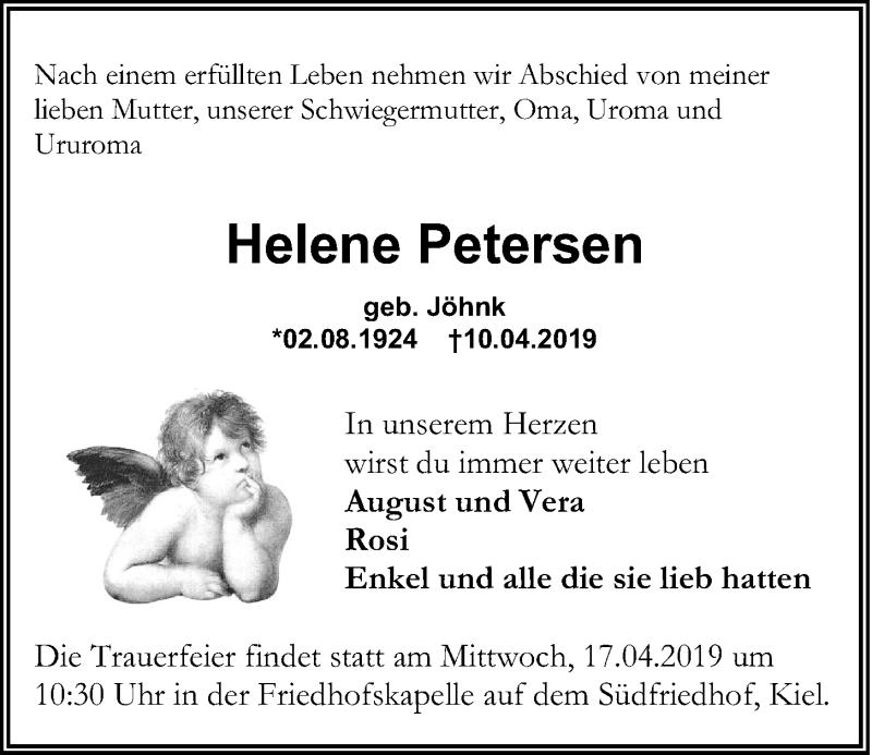 Traueranzeige für Helene Petersen vom 13.04.2019 aus Kieler Nachrichten