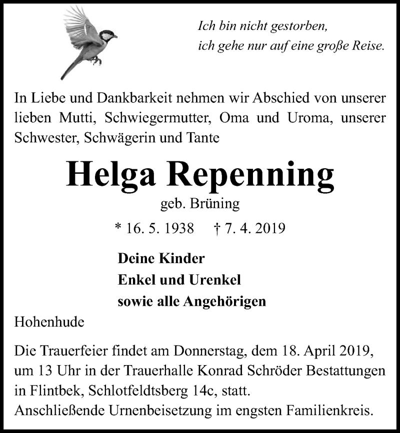 Traueranzeige für Helga Repenning vom 13.04.2019 aus Kieler Nachrichten