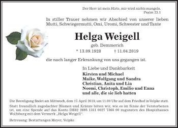 Traueranzeige für Helga Weigell vom 13.04.2019 aus Aller Zeitung