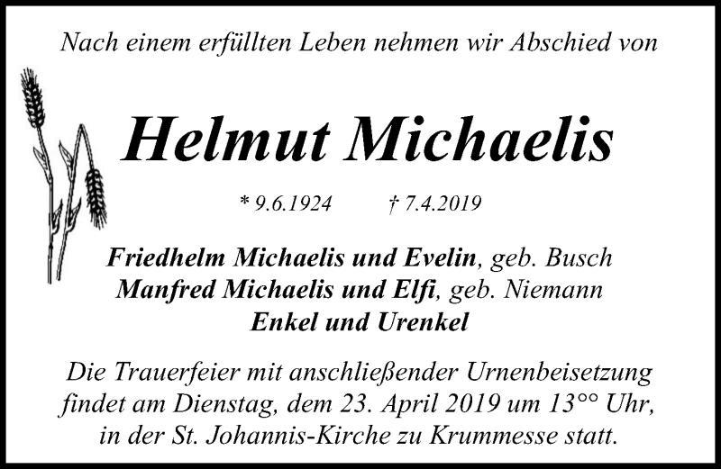 Traueranzeige für Helmut Michaelis vom 14.04.2019 aus Lübecker Nachrichten