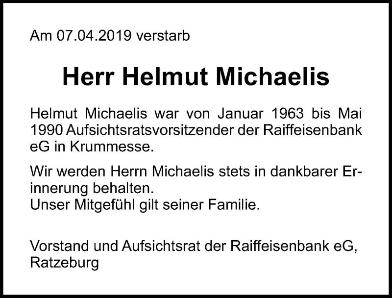 Traueranzeige für Helmut Michaelis vom 17.04.2019 aus Lübecker Nachrichten