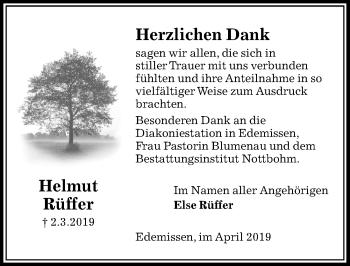 Traueranzeige für Helmut Rüffer vom 13.04.2019 aus Peiner Allgemeine Zeitung