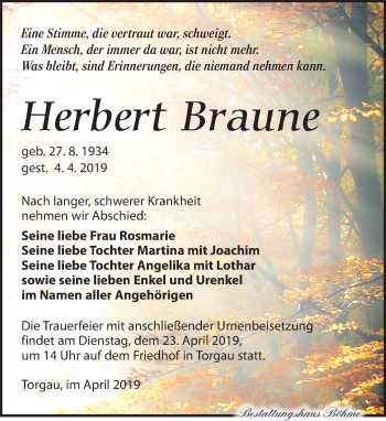 Traueranzeige für Herbert Braune vom 13.04.2019 aus Torgauer Zeitung