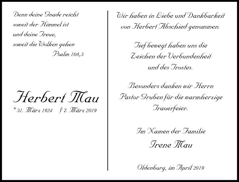 Traueranzeige für Herbert Mau vom 10.04.2019 aus Lübecker Nachrichten