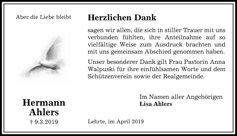 Traueranzeige für Hermann Ahlers vom 20.04.2019 aus Hannoversche Allgemeine Zeitung/Neue Presse