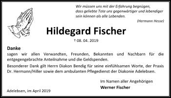 Traueranzeige für Hildegard Fischer vom 27.04.2019 aus Göttinger Tageblatt