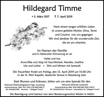 Traueranzeige für Hildegard Timme vom 11.04.2019 aus Lübecker Nachrichten