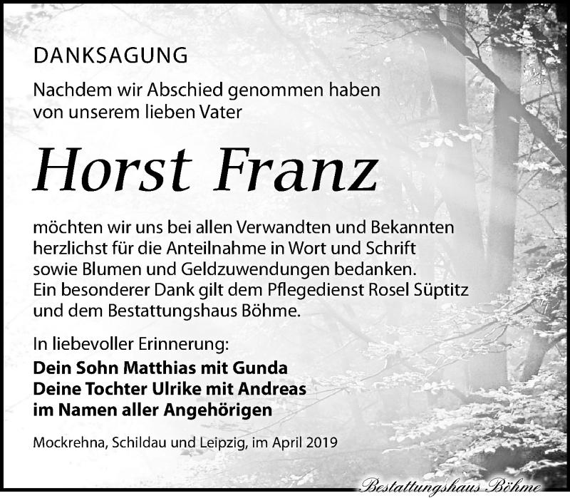 Traueranzeige für Horst Franz vom 06.04.2019 aus Torgauer Zeitung