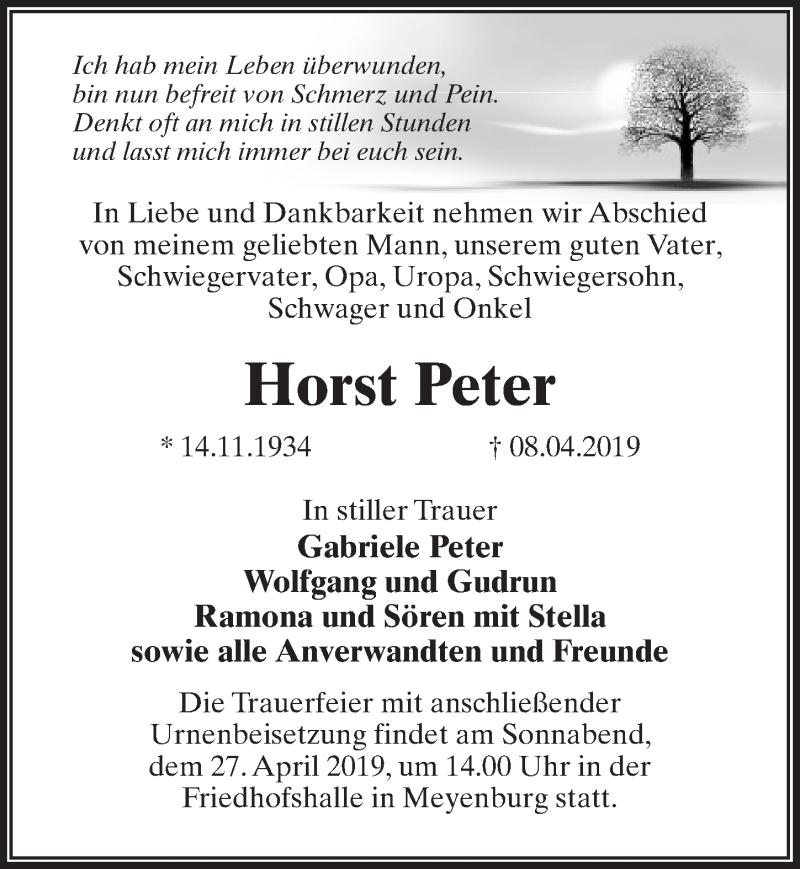Traueranzeige für Horst Peter vom 13.04.2019 aus Märkischen Allgemeine Zeitung