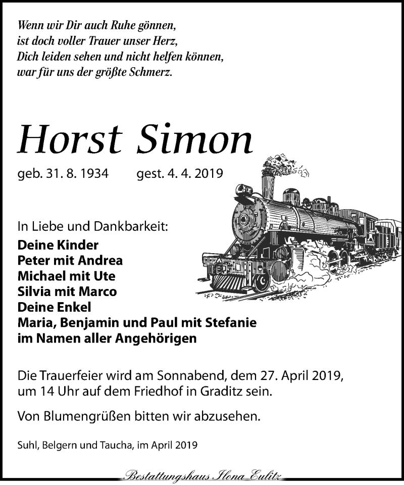 Traueranzeige für Horst Simon vom 13.04.2019 aus Torgauer Zeitung