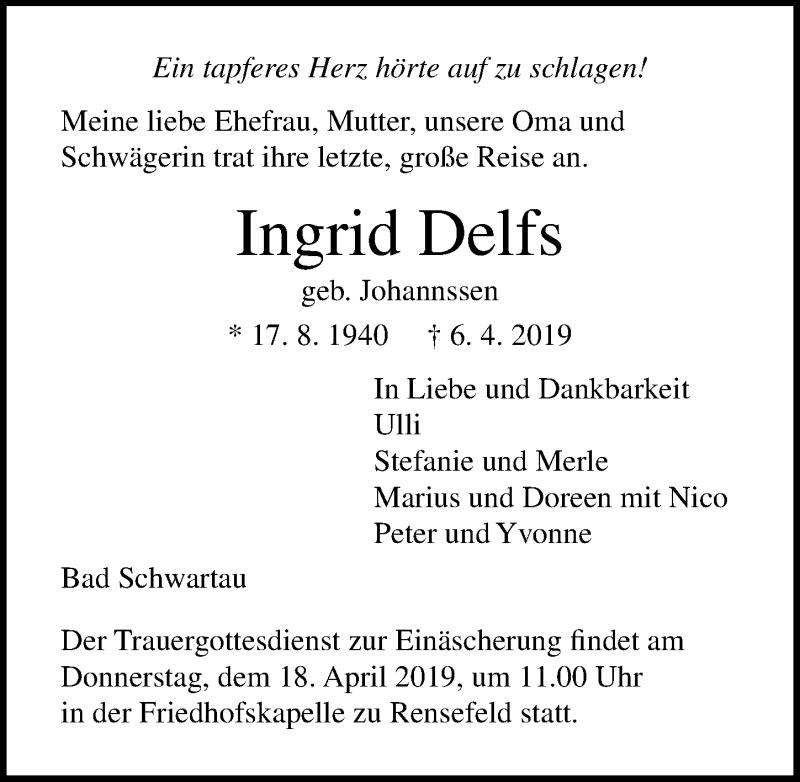 Traueranzeige für Ingrid Delfs vom 14.04.2019 aus Lübecker Nachrichten