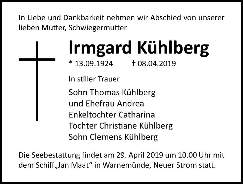 Traueranzeige für Irmgard Kühlberg vom 13.04.2019 aus Ostsee-Zeitung GmbH