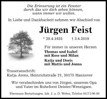 Traueranzeige für Jürgen Feist vom 13.04.2019 aus Peiner Allgemeine Zeitung