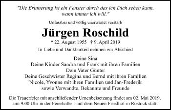 Traueranzeige für Jürgen Roschild vom 13.04.2019 aus Ostsee-Zeitung GmbH