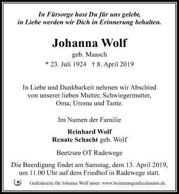 Traueranzeige für Johanna Wolf vom 11.04.2019 aus Märkischen Allgemeine Zeitung