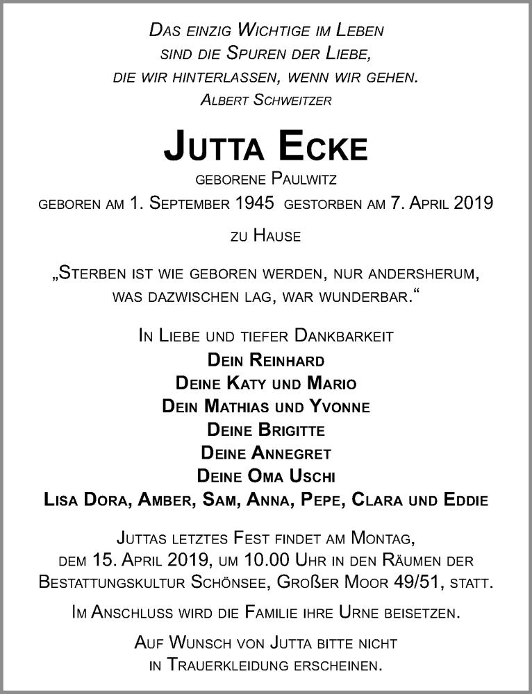 Traueranzeige für Jutta Ecke vom 13.04.2019 aus Ostsee-Zeitung GmbH