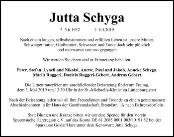 Traueranzeige für Jutta Schyga vom 13.04.2019 aus Kieler Nachrichten