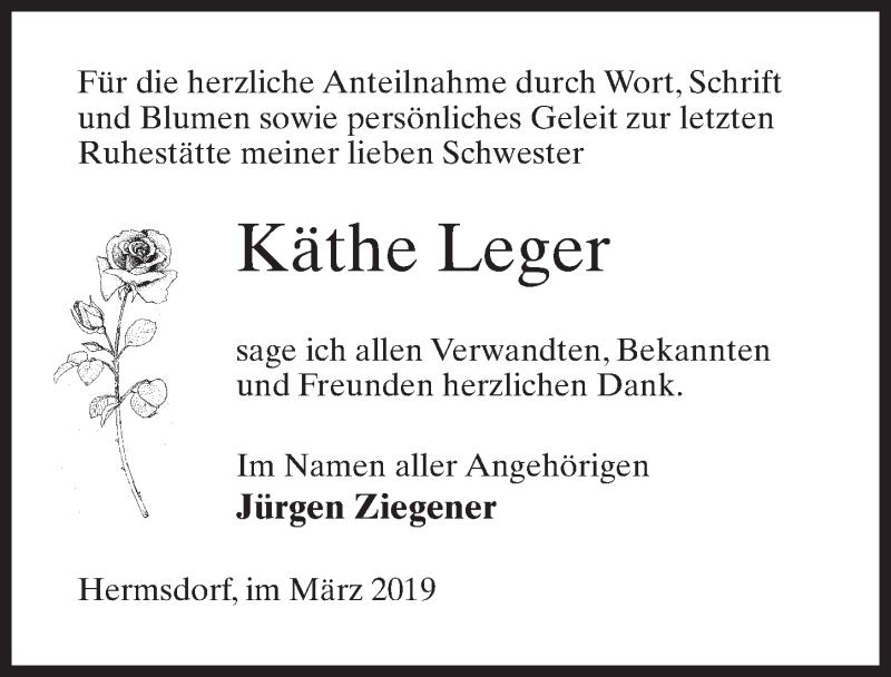 Traueranzeige für Käthe Leger vom 23.03.2019 aus Märkischen Allgemeine Zeitung
