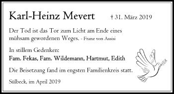 Traueranzeige für Karl-Heinz Mevert vom 11.04.2019 aus Schaumburger Nachrichten
