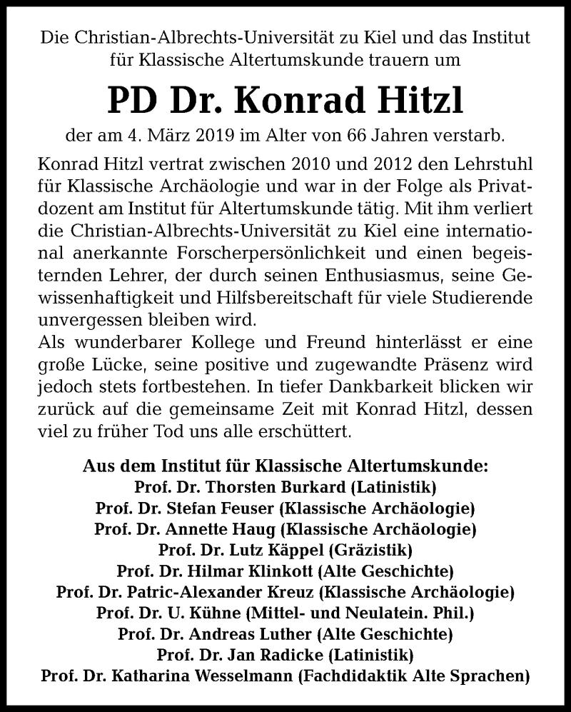 Traueranzeige für Konrad Hitzl vom 23.03.2019 aus Kieler Nachrichten
