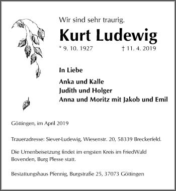 Traueranzeige für Kurt Ludewig vom 13.04.2019 aus Göttinger Tageblatt