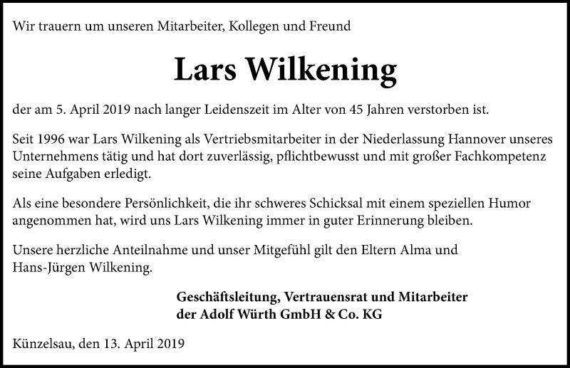 Traueranzeige für Lars Wilkening vom 13.04.2019 aus Hannoversche Allgemeine Zeitung/Neue Presse