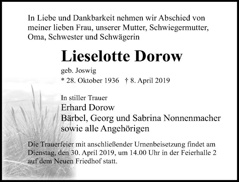 Traueranzeige für Lieselotte Dorow vom 13.04.2019 aus Ostsee-Zeitung GmbH