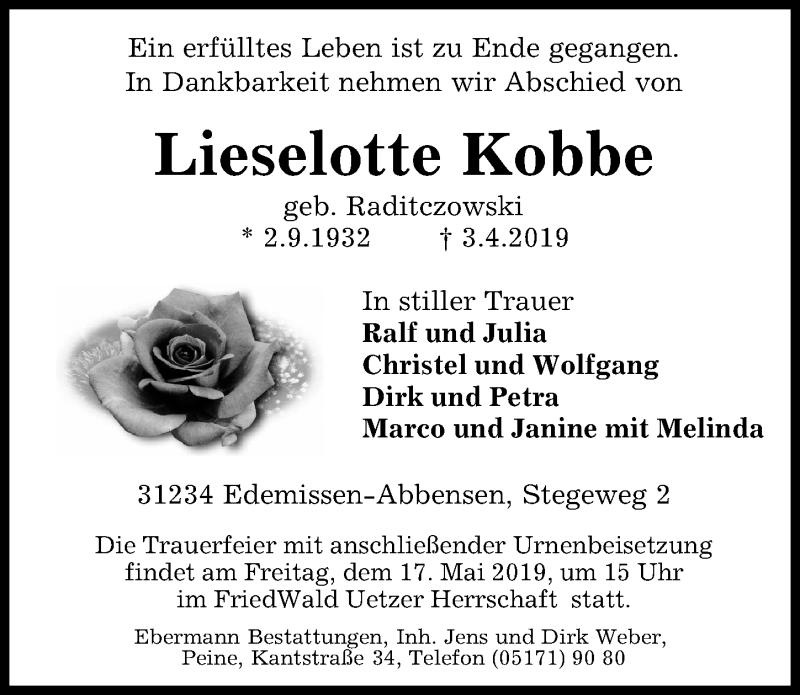 Traueranzeige für Lieselotte Kobbe vom 13.04.2019 aus Peiner Allgemeine Zeitung