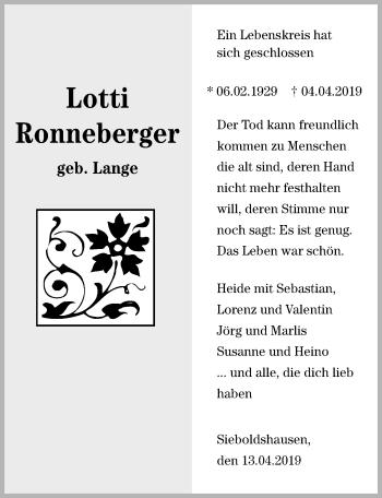 Traueranzeige für Lotti Ronneberger vom 13.04.2019 aus Göttinger Tageblatt