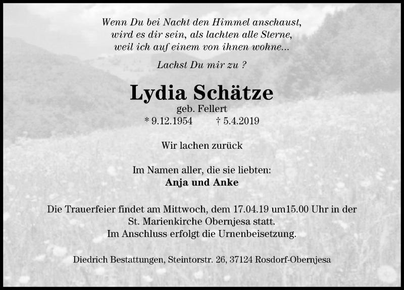 Traueranzeige für Lydia Schätze vom 13.04.2019 aus Göttinger Tageblatt