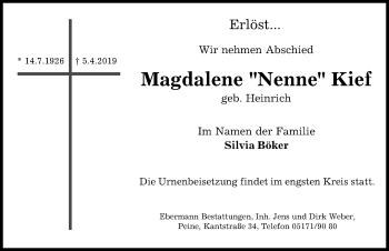 Traueranzeige für Magdalene Nenne Kief vom 06.04.2019 aus Peiner Allgemeine Zeitung