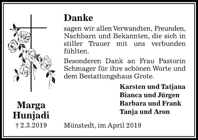 Traueranzeige für Marga Hunjadi vom 05.04.2019 aus Peiner Allgemeine Zeitung