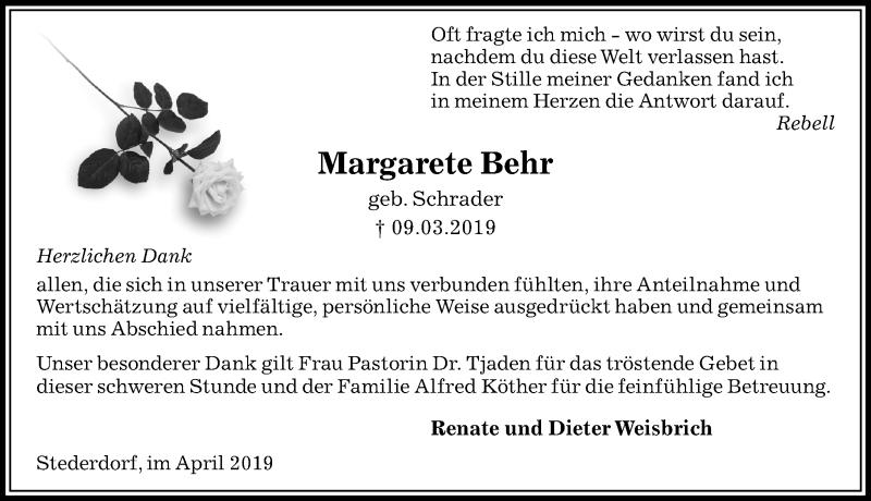Traueranzeige für Margarete Behr vom 06.04.2019 aus Peiner Allgemeine Zeitung
