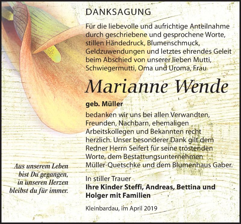 Traueranzeige für Marianne Wende vom 06.04.2019 aus Leipziger Volkszeitung