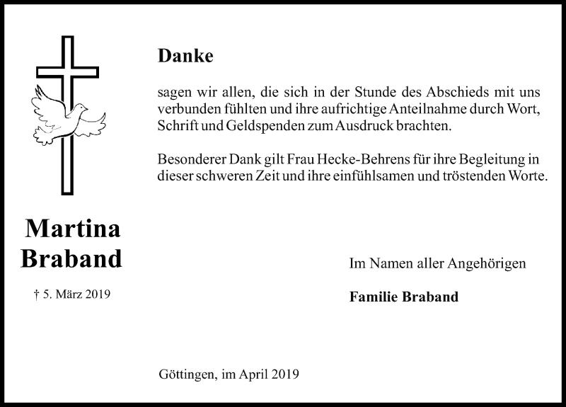 Traueranzeige für Martina Braband vom 27.04.2019 aus Göttinger Tageblatt