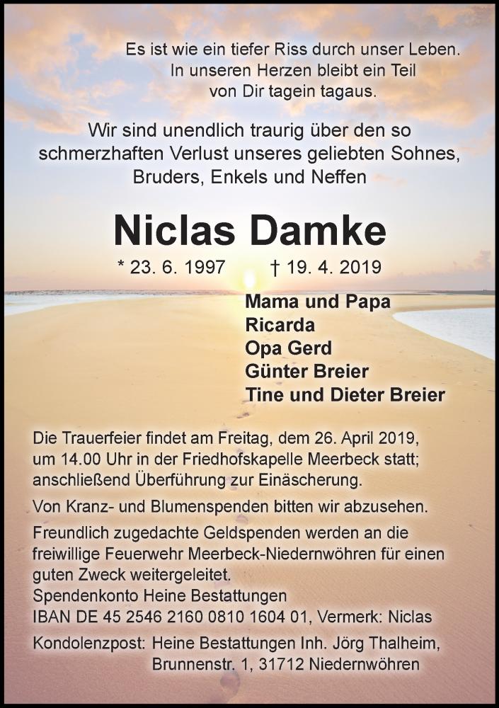 Traueranzeige für Niclas Damke vom 24.04.2019 aus Schaumburger Nachrichten