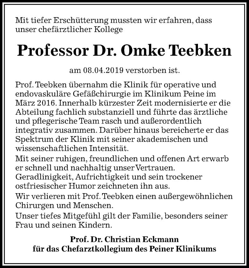 Traueranzeige für Omke Teebken vom 13.04.2019 aus Peiner Allgemeine Zeitung