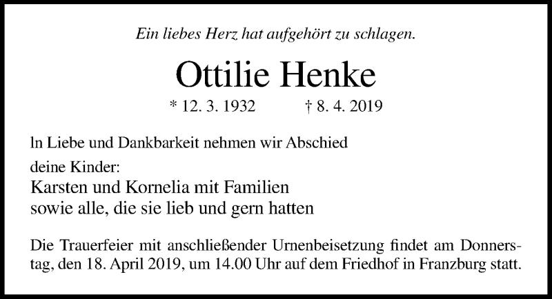 Traueranzeige für Ottilie Henke vom 13.04.2019 aus Ostsee-Zeitung GmbH