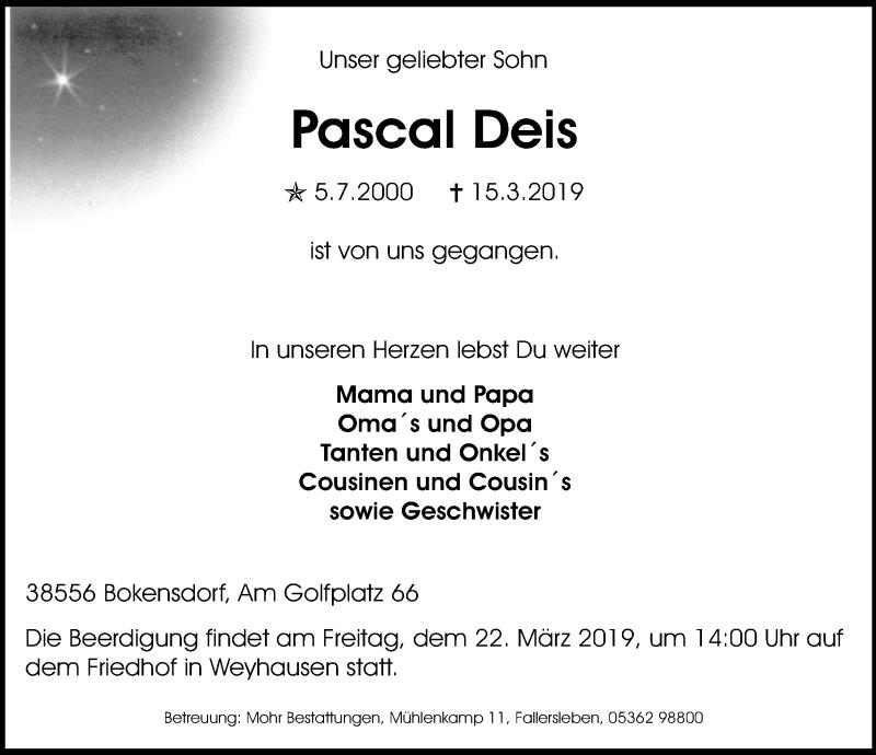 Traueranzeige für Pascal Deis vom 20.03.2019 aus Aller Zeitung