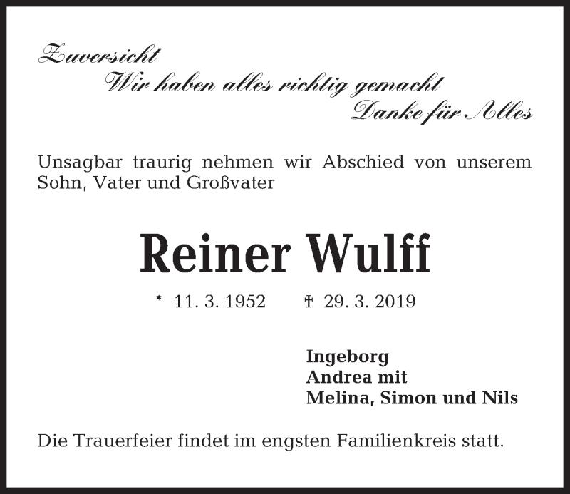 Traueranzeige für Reiner Wulff vom 06.04.2019 aus Kieler Nachrichten