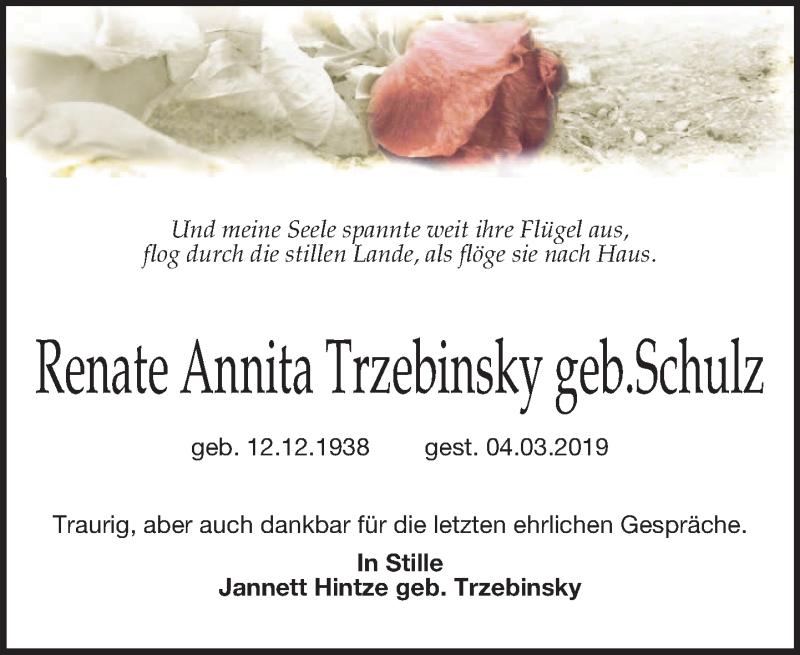 Traueranzeige für Renate Annita Trzebinsky vom 22.03.2019 aus Leipziger Volkszeitung