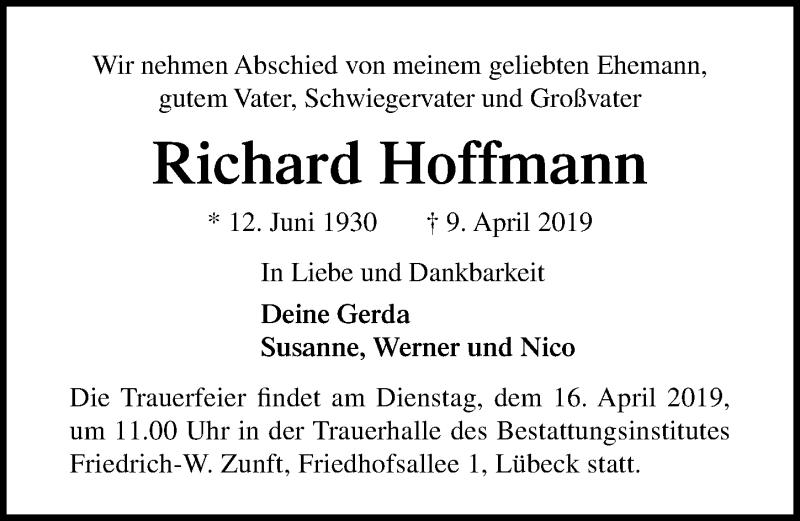 Traueranzeige für Richard Hoffmann vom 14.04.2019 aus Lübecker Nachrichten