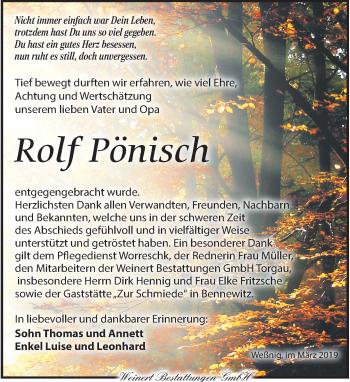 Traueranzeige für Rolf Pönisch vom 23.03.2019 aus Torgauer Zeitung