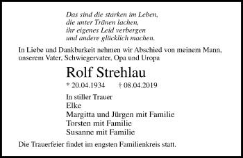 Traueranzeige für Rolf Strehlau vom 14.04.2019 aus Lübecker Nachrichten