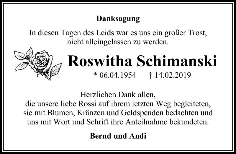 Traueranzeige für Roswitha Schimanski vom 23.03.2019 aus Märkischen Allgemeine Zeitung