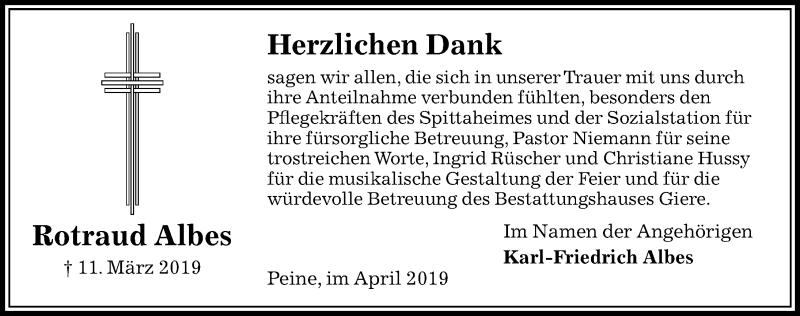 Traueranzeige für Rotraud Albes vom 06.04.2019 aus Peiner Allgemeine Zeitung